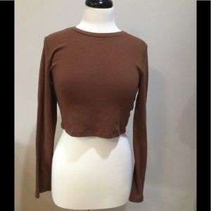 Long sleeve large brown crop top